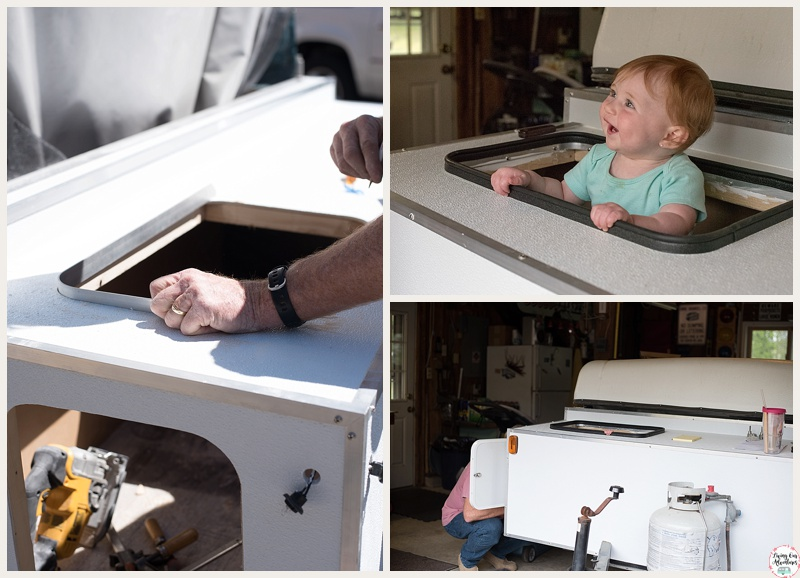 Storage Box hatches and latches. Coleman Pop Up Camper