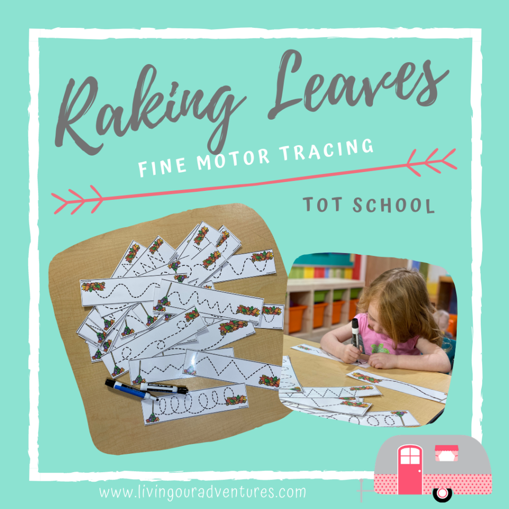 Raking Leaves Fine Motor Tracing Cards